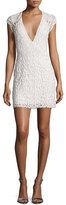 Naeem Khan Costa Beaded Open-Back Cap-Sleeve Dress, White
