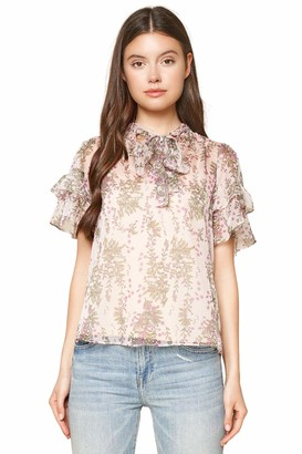 Sugar Lips Sugarlips Women's How to Love Floral Print Neck Tie Top