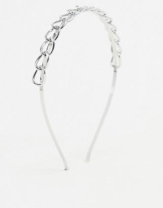 DesignB London headband in silver chain links