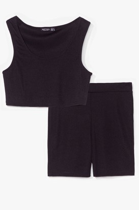 Nasty Gal Womens Keep It Together Crop Top and Biker Shorts Set - Black - 14