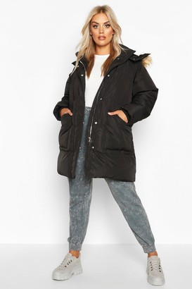 boohoo Plus Faux Fur Longline Puffer Coat