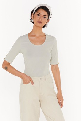 Nasty Gal Womens All Eyes Button Me Ribbed Tee - Green - 4