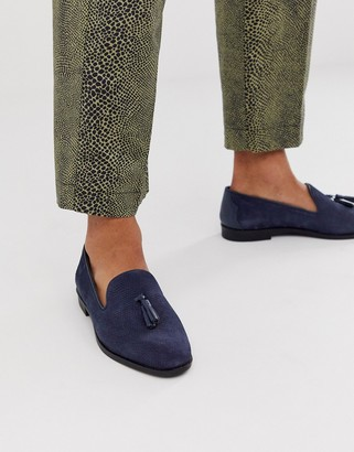 House Of Hounds House of Hounds pointer loafers in navy embossed suede