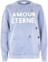 River Island Womens Blue distressed amour print sweatshirt