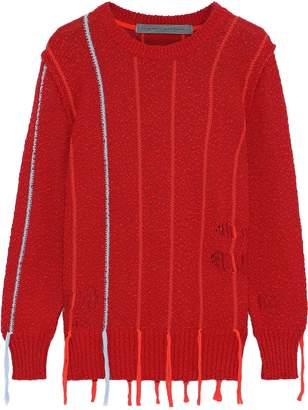 Raquel Allegra Tasseled Distressed Boucle-knit Cotton Sweater