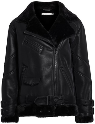 Blanc Noir Violetta Faux Shearling Moto Jacket