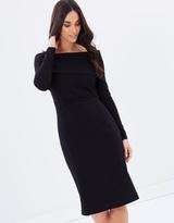 Forcast Tara Contrast Off Shoulder Dress