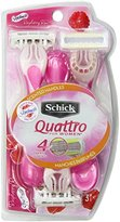 Schick Quattro for Women Disposable Razors Raspberry Rain Scented Handle Shaving Razor - 3 Count