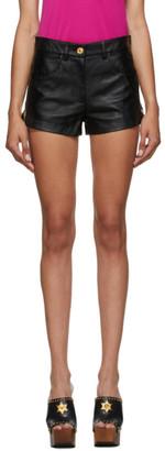 Versace Black Leather Shorts