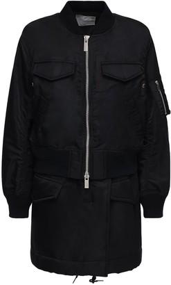 Sacai Layered Nylon Twill Zip-Up Short Coat
