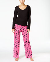 Charter Club Knit Solid Top and Printed Pants Pajama Set, Only at Macy's