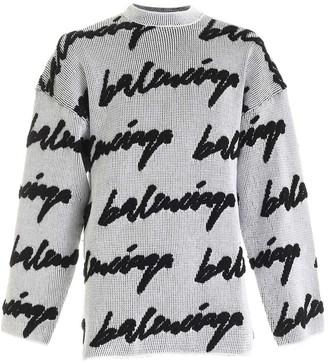 Balenciaga Crewneck 3d Scribble Knit Sweater