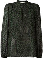 MICHAEL Michael Kors leopard print band collar blouse - women - Polyester - M