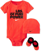 Nike Baby Boys' 3-Piece Pounds of Power Bodysuit, Hat & Booties Set