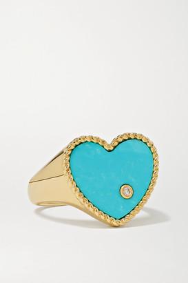 Yvonne Léon 9-karat Gold, Turquoise And Diamond Signet Ring - 6