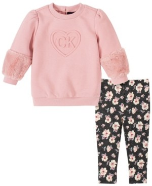 Calvin Klein Baby Girls Faux Fur Trim Tunic Legging Set