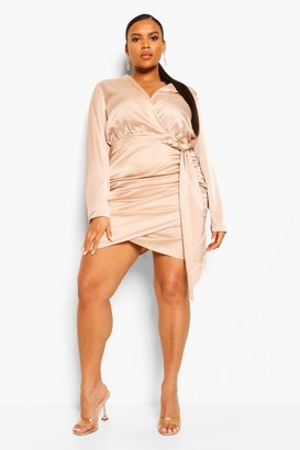 boohoo Plus Satin Wrap Ruched Bodycon Dress