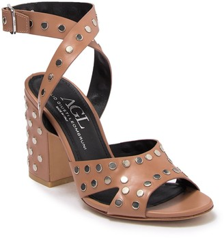 Attilio Giusti Leombruni Studded Block Heel Leather Sandal
