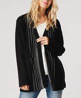Carve Designs Women's Open Cardigans Black - Black & White Stripe Alma Wool-Blend Open Cardigan - Women