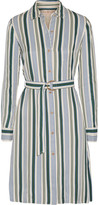 Tory Burch Villa Striped Satin-twill Dress - Blue