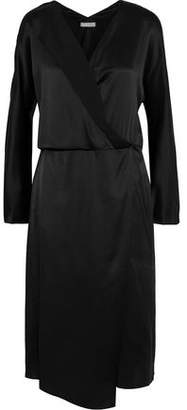 Vince Wrap-effect Silk-satin Midi Dress