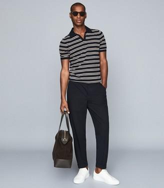 Reiss Venice - Striped Open Collar Polo in Navy Multi