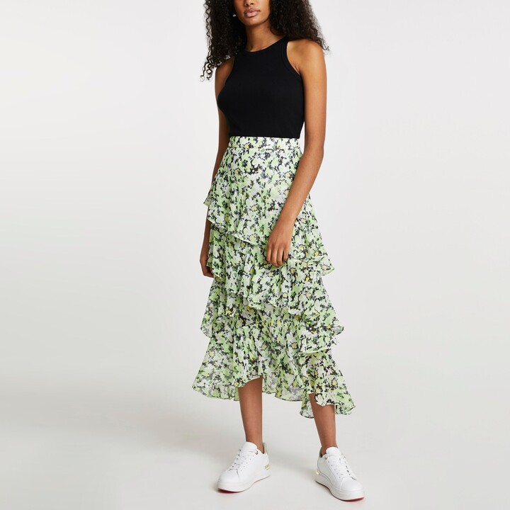 Thumbnail for your product : River Island Womens Green floral ruffle maxi skirt
