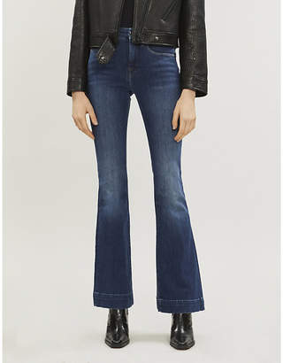 Good American Good Legs faded flared high-rise jeans