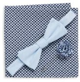 Original Penguin Three-Piece Solid Bow-Tie, Lapel Pin & Printed Pocket Square Set