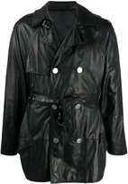 Versace Pre Owned 1980s double-breasted leather coat