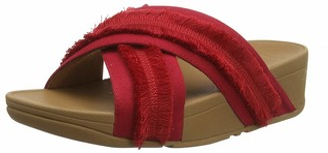 FitFlop Women's Freya LULU Slide-Fringe Canvas Open Toe Sandals