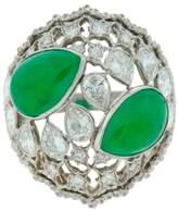 Buccellati Jade Diamond Platinum Ring
