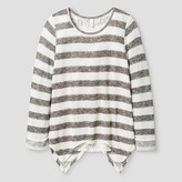 Xhilaration Girls' Sweater Knit Top with Lace Detail Ivory L