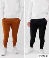 Asos Design ASOS DESIGN skinny joggers 2 pack black / dark orange