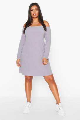 boohoo Plus Oversized Bardot Rib Swing Dress