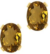 Gem Stone King 2.30 Ct Oval Shape Quartz Yellow Gold Plated Silver Stud Earrings