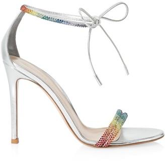 Gianvito Rossi Montecarlo Rainbow Crystal-Embellished Metallic Leather Sandals