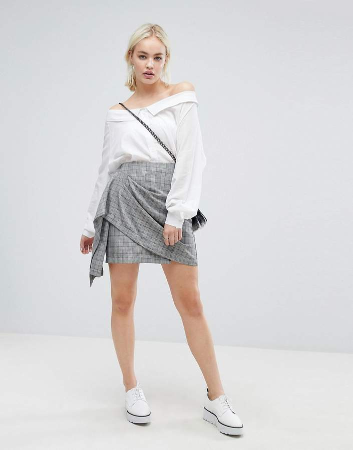 J.o.a. Wrap Front Mini Skirt In Vintage Check