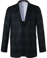 Beams Navy Slim-fit Black Watch Checked Wool-blend Blazer - Black