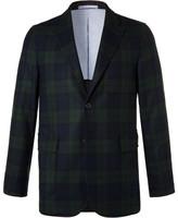 Beams Navy Slim-Fit Black Watch Checked Wool-Blend Blazer