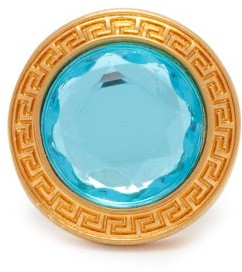 Versace Crystal Dome Ring - Womens - Blue