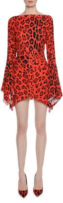 Tom Ford Deep-V Back Flutter-Sleeve Jaguar-Print Dress w/ Handkerchief Hem