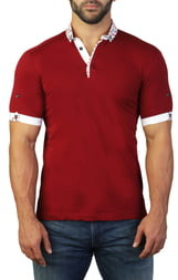 Maceoo Mozart Flower Red Regular Fit Polo