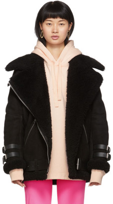 Acne Studios Black Suede Shearling Aviator Jacket