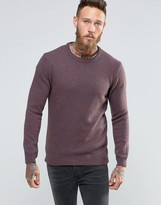 Asos Lambswool Rich Crew Neck Sweater in Burgundy Twist