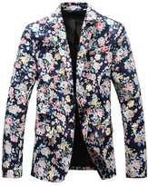Allonly Men's Fashion Floral Peak Lapel Cotton Suit Blazer Jacket One Button Suit