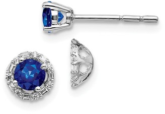 14K White Gold Diamond and Sapphire Earrings by Versil