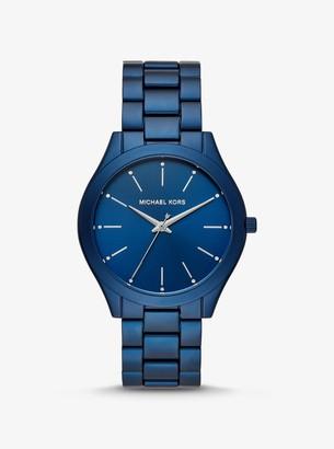 Michael Kors Slim Runway Blue-Tone Aluminum Watch