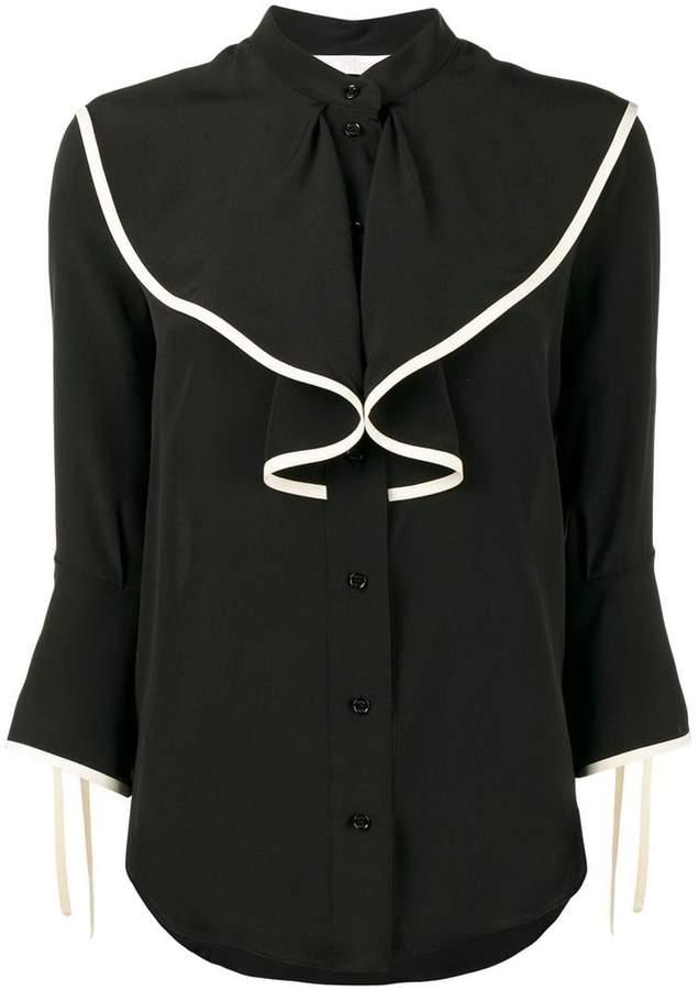 Chloé collarless ruffle blouse