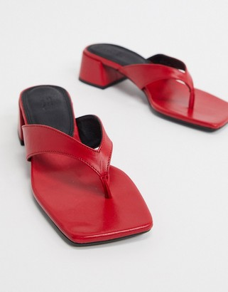 ASOS DESIGN Humid premium leather mid-heeled flip flops in red